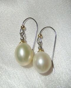 Pair of Solid 14KT White & Yellow Gold Cultured Akoya Pearl Drop Earrings