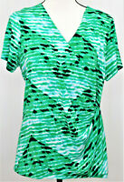 Calvin Klein Green Print Faux Wrap V Neck Short Sleeve Women's Large Top Blouse