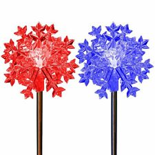Solar Powered Color Changing Snowflake LED Light Garden Stakes Outdoor, Set of 2
