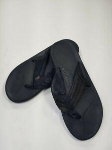 Rainbow Leather Flip Flops  Men's L ( 9.5-10.5) Black