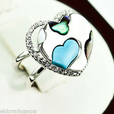 MOVADO 1.00 CT DIAMOND TURQUOISE PEARL EMERALD HEART RING 18K WHITE GOLD US3.5