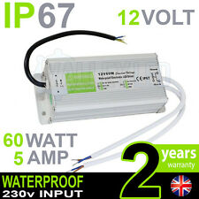 IP67 12V DC 60w 5A 230v Alimentatore Impermeabile per Striscia LED DRIVER CCTV