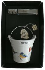 Garden birds bucket shaped Teabag tidy & tongs in gift tray shrink wrapped