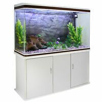 Fish Tank Aquarium Tropical Marine Complete Set Up White Cabinet 300 Litre 4ft
