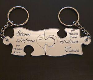 Personalised Keyrings Jigsaw Puzzle Anniversary,Wedding,Birthday,Christmas