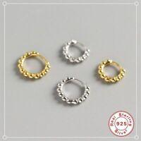 Kleine Creolen Kügelchen Rund echt Sterling Silber 925 Damen Ohrringe Kreolen