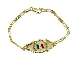 Mexico Flag ID Tag 18k Gold Plated 7.5 Inch Bracelet - Mexico Flag Bracelet