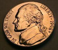 1998-D Jefferson Nickel Ch BU FS Lustrous Original Gold Tone 5C Cents USA Coin