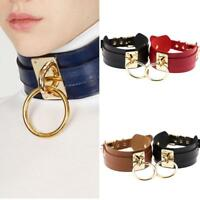 MEN WOMEN PUNK O RING CHARM FAUX LEATHER COLLAR CHOKER NECKLACE JEWELRY FADDISH