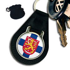 FINLAND SUOMI FLAG COAT OF ARMS  LEATHER KEYRING / KEYFOB