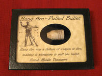 Original Pulled Civil War Bullet in Matted Display Case.. Hang Fire