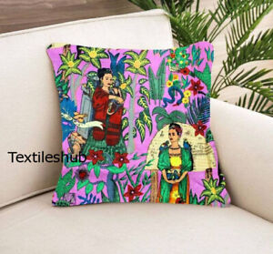 Pink Frida Khalo Print Cushion Cover Pillow Cover Indian 20x20 Home Décor Covers