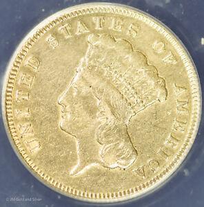 1874 $3 Gold Indian Princess Type 3 ANACS EF 45 Details | XF Detail