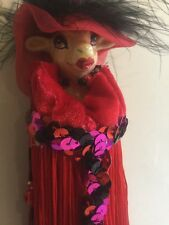 Katherine's Collection Wayne Kleski Retired Party Girl Cow Tassel Ornament NOS