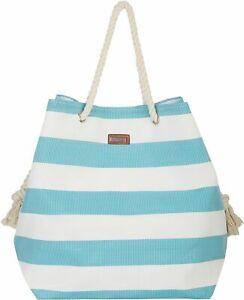 Sun N' Sand Horizontal Yellow Stripes Beach Bag Tote One Size White multi