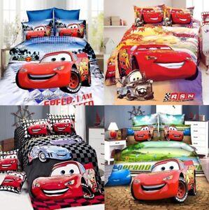 New Bedline Set Pixar Cars Lightning Blanket Duvet Pillow Cover Twin Bed Single