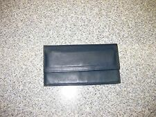 Vintage Rolfs Slate Blue Leather Wallet W/Checkbook Slot & Zipper Pouch Good