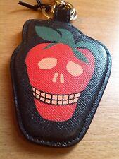 Paul Smith Black Calf Leather Strawberry Skull Keyring BNWT