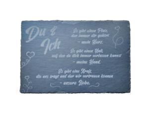 Liebeserklärung auf einer Schieferplatte, auf Wunsch mit Namengravur (20 x 30cm)
