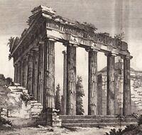 Gravure XVIIIe Temple de Minerve Santa Maria Sopra Minerva Temple of Minerva