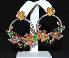 CERTIFIED NATURAL 7CT VS G DIAMOND EMERALD SAPPHIRE RUBY 18K SOILD GOLD EARRINGS
