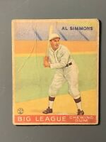 1933 Goudey #35 Al Simmons HOF Lower Grade/Crease Chicago White Sox HOF