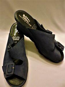 Spring Step Slip On Sandal Wedges Shoes Blue Suede Heels Buckles 40 US Womens 9