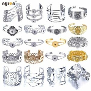 Metal Snap Charms Bangle Bracelet Multi Styles Fit 12/18mm Snap Button Jewelry