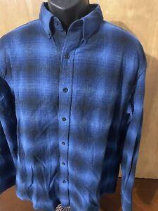 Pendleton Mens Long Sleeve Flannel Mason Shirt Size Large Plaid 👍 Blue
