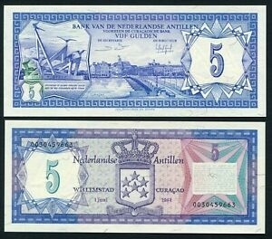 Netherlands Antilles 5 gulden 1984.06.01. View of Curacao & Monument P15b UNC