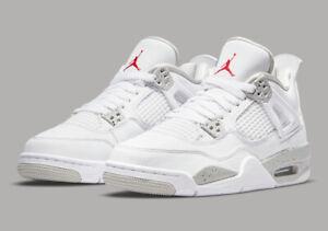 Nike Air Jordan 4 Retro GS White Fire Red Tech Grey DJ4699-100 Youth Size 4Y-7Y