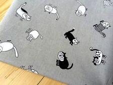 1 Meter - Baumwolle Stoff mit Katzen Muster Grau - Br. 153cm - Meterware
