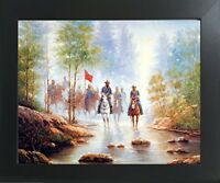 Civil War Grey Soldier on Horses Contemporary Black Wall Decor Framed Picture