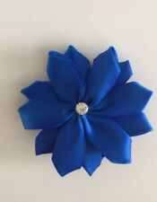 "Wedding Bridal Flower Girl Small 3"" Girls Royal Blue Flower Hair Clip Fascinator"