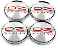 4 x 63mm OZ Racing M595 Silber Rot Nabenkappen Nabendeckel Satz
