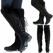 New Women BM9S Black Faux Suede Lace Up Riding Knee High Cowboy Boot 6 to 10