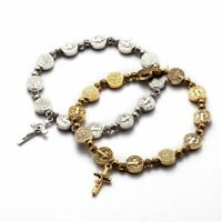 Vintage Silver Miraculous Medal Rosary Bracelet Cross Crucifix Virgin Mary Roses