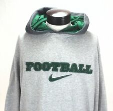 NIKE Football Hoodie Jacket Pullover Heather Gray/Green Sewn Swoosh Mens XL RARE