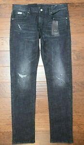 Armani Exchange A|X J13 Men's Slim Fit Distressed Charcoal Stretch Jeans 31R