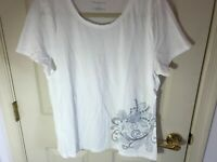 Woman's Talbots size XL white embellished short sleeve cotton top