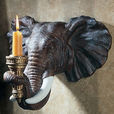 Elephant Trophy Display Candle Sconce Wall Sculpture