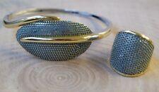 Turkish Handmade Jewelry Sterling Silver 925 Turquoise Ring Bracelet Set 7 8 9