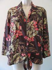 Jones New York Ladies Blouse XL Lightweight Tie-Front Top Floral Shirt