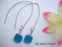 Square Capri Blue Frosted SEA GLASS Silver Marquise Earrings Hook Leverback Post