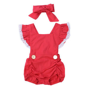 US Christmas Toddler Baby Girls Lace Bodysuit Jumpsuit Headband Outfits Set