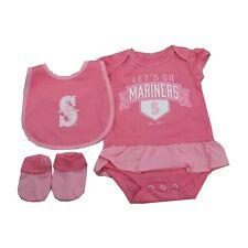 Seattle Mariners MLB Majestic Infant Girls Size Pink 3 Piece Creeper Bib & Boots