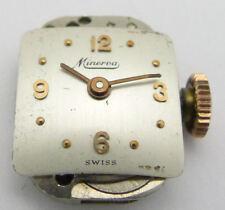 MINERVA 18 KARAT DESIGN- DAMEN-ARMBANDUHR MIT TEXTILBAND SCHWEIZ 1940er JAHRE