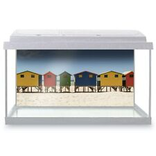 Fish Tank Background 90x45cm - Colorful Beach Huts Summer Holiday  #8091