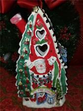 "2009 Blue Sky Clayworks Goldminc 12"" Ceramic Christmas Tealight Candle House"