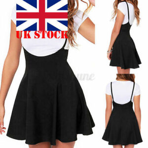 2021 UK Womens Summer Mini Skirt Strap Pleated Skater Short Braces Overall Dress